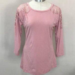 Pink BANANA REPUBLIC 3/4 Sleeve Lace Detail Top M
